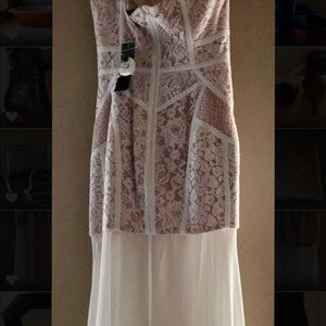 NWT BCBG strapless corset dress with sheer bottom